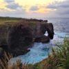 夕日に映えるゾウの形の岩:万座毛 (恩納村)